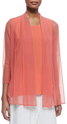 Caroline Rose 3/4-Sleeve Illusion Sheer Cardigan, Plus Size