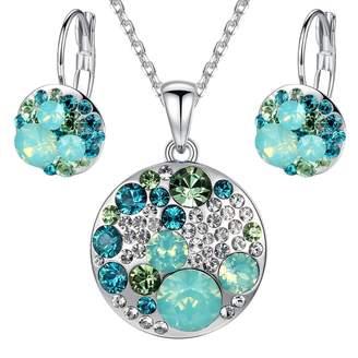 "Swarovski Leafael ""Ocean Bubble Elements Austrian Crystal Multi-stone Blue Purple Circle Pendant Necklace Earring Jewelry Set, Silver-tone Chain 18"" + 2"" Extender"