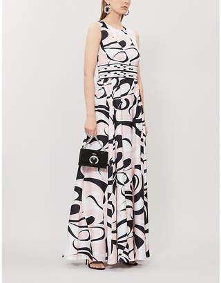 Emilio Pucci Abstract-Print Sleeveless Silk-Satin Maxi Dress