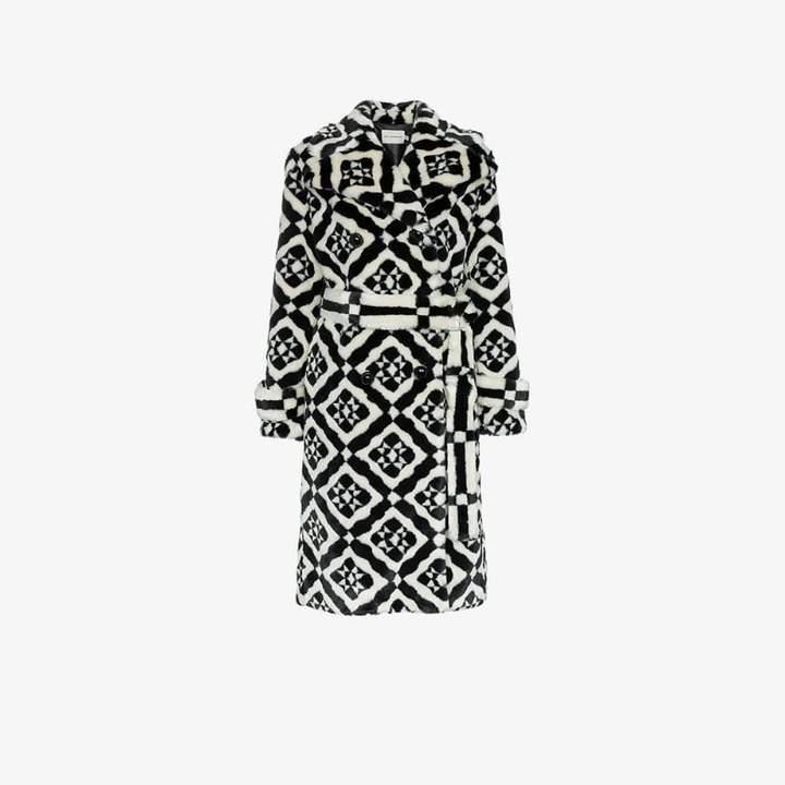Stokes faux fur tile print coat