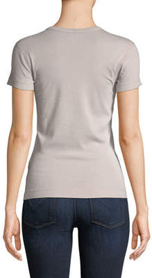 Three Dots Short-Sleeve Fitted Combed Cotton Crewneck Tee