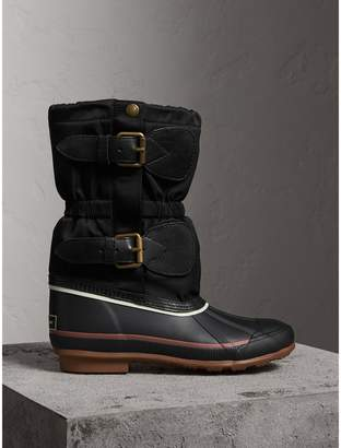 Burberry Rubber Leather Blend Duck Boots , Size: 40, Black