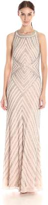 Adrianna Papell Women's Halter Geo Beaded Gown