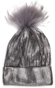 Bari Lynn Kid's Fox Fur Pom-Pom Metallic Knit Hat