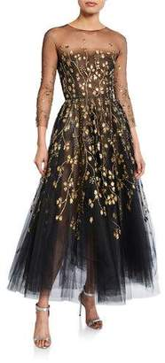 cbd7c362bce Oscar de la Renta Long-Sleeve Embroidered-Tulle Illusion Gown