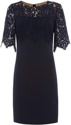 Lauren Ralph Lauren Lace Top Crepe Shift Dress