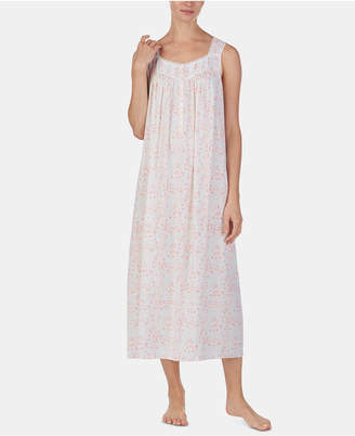 Eileen West Lace-Trim Printed Ballet-Length Nightgown