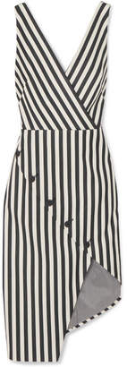 Altuzarra Marceau Asymmetric Striped Cotton-blend Dress - Black