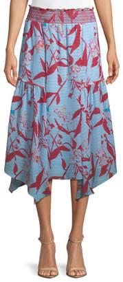 Tanya Taylor Sabine Parrot Tulip Printed Midi Skirt