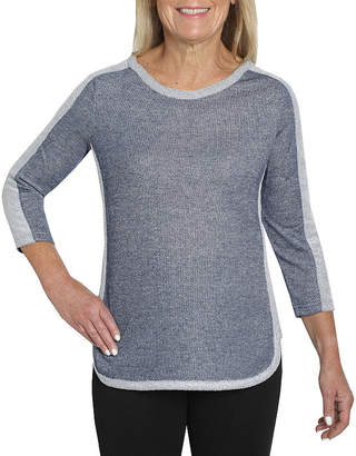 CATHY DANIELS Cathy Daniels Two For One-Womens Crew Neck 3/4 Sleeve T-Shirt