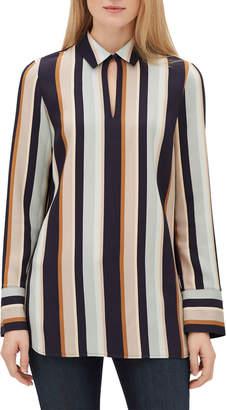 Lafayette 148 New York Agatha Modern Stripe Long-Sleeve Blouse with Chain Detail