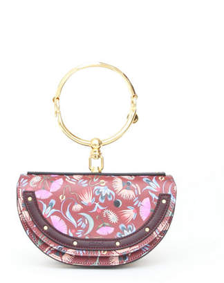 Chloé Nile Artistic Print Minaudiere Clutch Bag with Bangle Handle