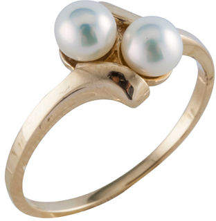 Splendid FINE JEWELRY Pearls Womens 4MM Cultured Freshwater Pearl 14K Gold Cocktail Ring