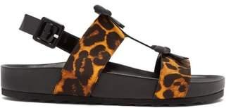 Fabrizio Viti - Berkley Leopard Print Satin And Leather Sandals - Womens - Leopard
