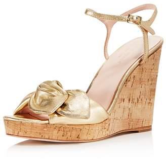 Kate Spade Women's Janae Metallic Leather Platform Wedge Sandals