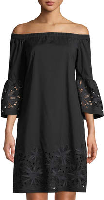 Lafayette 148 New York Palmira Off-the-Shoulder Dress w/ Floral Cutouts