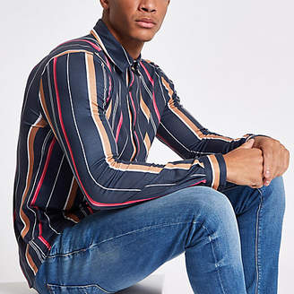 River Island Navy vertical stripe print button-down shirt