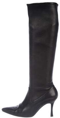 Manolo Blahnik Leather High Heel Boots