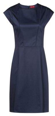 HUGO Cap-sleeve dress with pintuck-pleat bodice