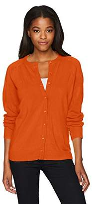 Sag Harbor Women's Petite Long Sleeve Pearl Button Front Cardigan
