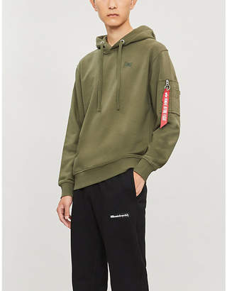 Alpha Industries Oversized zip-pull cotton-blend hoody
