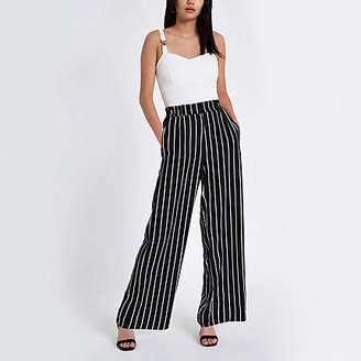 River Island Black stripe wide leg trousers