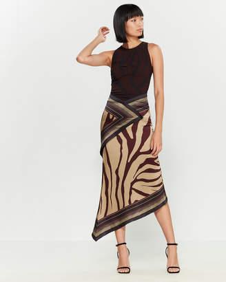 Roberto Cavalli Wine Zebra Stripe Midi Dress