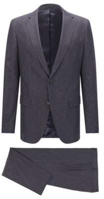 BOSS Hugo Geometric Cotton Suit, Slim Fit Novan/Ben 38R Charcoal