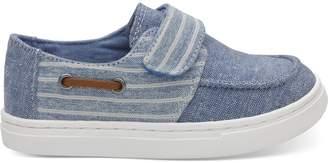 Toms Blue Slub Chambray Stripe Tiny Culver Slip Ons