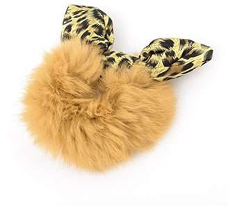 Uxcell Leopard Print Rabbit Ear Accent Girls Hair Tie Ponytail Holder