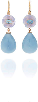 Irene Neuwirth One-Of-A-Kind 18K Rose Gold Carved Chalcedony And Blue Opal Drop Earrings