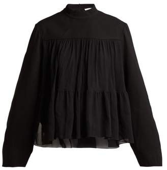 Chloé Tiered Mousseline Blouse - Womens - Black