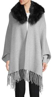 Dyed Fox Fur Trim Open-Front Poncho