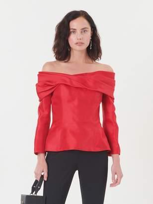 Oscar de la Renta Silk-Gazar Off-the-Shoulder Blouse