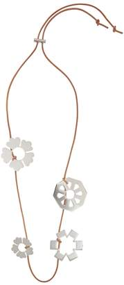 Tory Burch Silver Tone Charm-embellished Leather Necklace