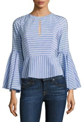 MILLY Luna Striped Bell Sleeve Silk-Blend Top $365 thestylecure.com