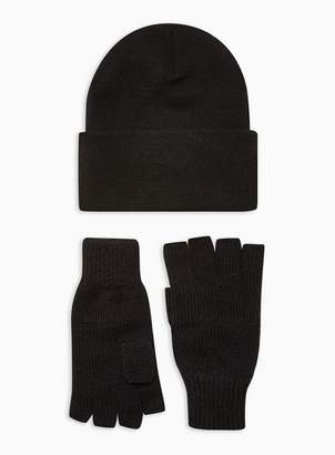 Topman Mens Black Beanie And Gloves 2 Pack