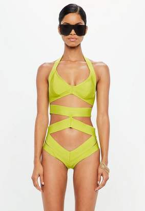 Missguided Green Bandage Underwired Cut Out swimsuit