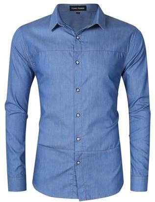 Lintimes Men's Casual Slim Fit Button Down Long Sleeve Denim Shirt Male Top Tee Polo Collar Shirt