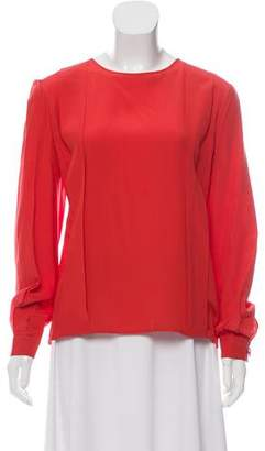 Valentino Scoop Neck Long Sleeve Blouse