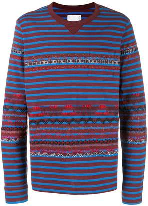 Sacai striped embroidered sweatshirt