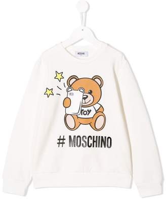 0885b1ecef0 Moschino Kids bear logo print sweatshirt