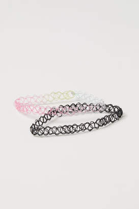 H&M 2-pack Elasticized Chokers - Pink