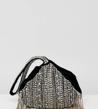 Accessorize embellished fringed bag