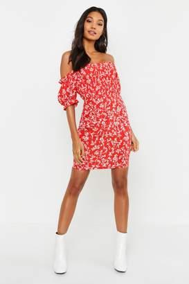 9958e81e2df9 boohoo Ditsy Print Shirred Waist Mini Dress