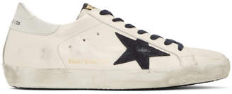 Golden Goose SSENSE Exclusive White and Navy Superstar Sneakers