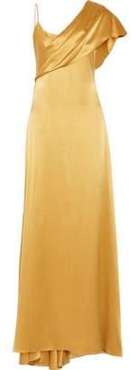 Cushnie et Ochs Zahara Draped Silk-Charmeuse Gown
