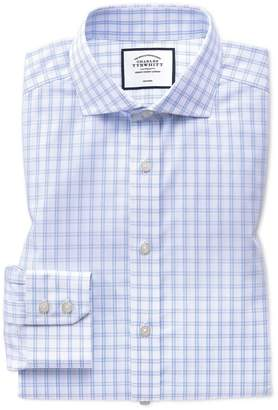 Charles Tyrwhitt Extra Slim Fit Spread Collar Non-Iron Sky Blue Check Natural Cool Cotton Dress Shirt Single Cuff Size 14.5/32