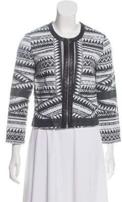 Yigal Azrouel Patterned Leather-Trimmed Cardigan