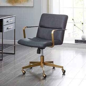 west elm Cooper Mid-Century Leather Swivel Office Chair